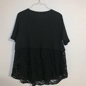 Black Half lace blouse